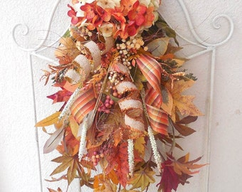 Fall wreaths, Fall door decor, Elegant Fall wreath, Fall door wreaths, Autumn, Harvest, Fall leaves, Wreaths for Fall, Door swag, Orange