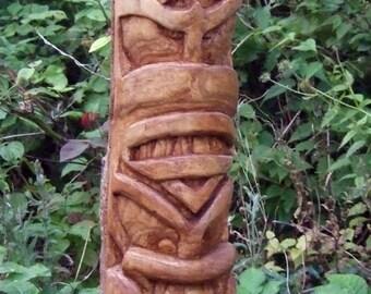 tiki totem pole, totem pole, wood carving, ash, oak,
