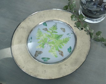 Fern Decoupage Glass Plate
