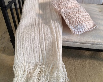 Shabby Chic Handmade Miniature Dollhouse Bed or Sofa Throw - Gauze Fabric with Fringe- Beautiful Light Creme