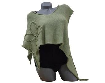 Cropped knit cardigan - Asymmetrical cardigan - Sleeveless cardigan - Knit green cardigan