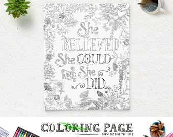 Printable Coloring Page She Believed Could Instant Download Digital Art Bible Verse