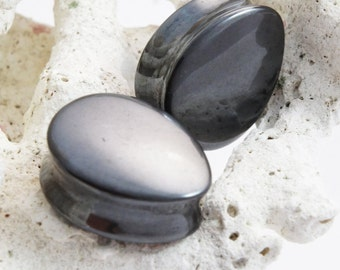 """Pair Large Hematite Teardrop Double Flared Saddle Plugs 16.5mm (5/8"""") 22mm (7/8"""") 25mm 1"""" 28mm 1 1/8"""" 32mm 1 1/4"""" 33mm 1 19/64"""" 35mm 1 3/8"""""""