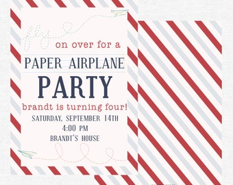 Paper airplane party invitation-FREE SHIPPING or DIY printable