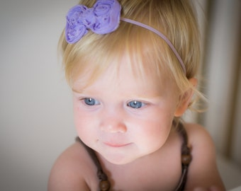 RTS (0-6m) Purple Bow Headband, Baby Headband, Lavender Headband, Chiffon Bow Headband, Infant Headband, Purple Headband, Lavender Hair Bow