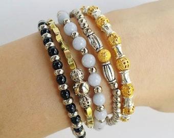 Bracelet set - multiple bracelets - Bracelet Combination - Combine Bracelet - stackable jewelry - stacking bracelets - boho chic stretch