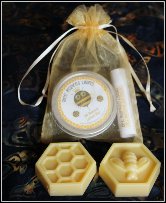 Lotion Bar Combo- Small Hard Lotion with Beeswax & Shea Butter with Lip Balm