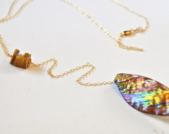 Shell Pendant Necklace Gold, Lariat Gold Necklace, River Shell Necklace