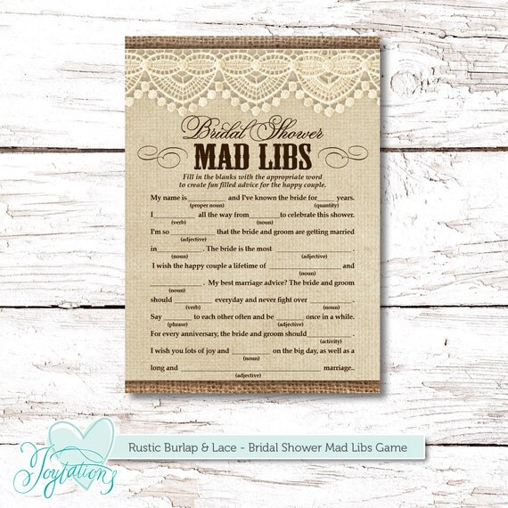 Rustic Burlap And Lace Mad Libs Bridal Shower Game By
