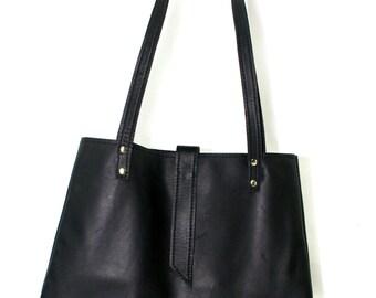 Black Leather Hobo, leather handbag, black women's tote