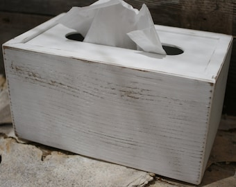 White Tissue Box Cover Tall Handmade Natural Upcycled Wood Rustic Shabby Chic