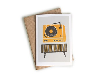 Vinyl Record Deck Card, A6 Size, Gift for Music Lover, Vinyl Junkie, Bright Illustrated Note Card, Retro Mid Century Modern Style Art