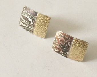 Sterling Silver Gold Plated And Copper Plated Earrings