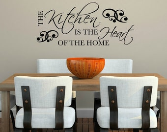 The Kitchen is the Heart of the Home Wall Decal, Kitchen Decor, Kitchen Art, Kitchen Sign, Kitchen Wall Decor, Kitchen Wall Decal