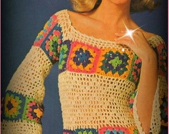 Crochet TOP Pattern Vintage 70s Granny Squares Hippie Top Granny Top Pattern Boho Blouse Pattern Bohemian Clothing