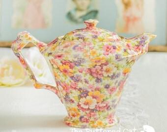 NOS James Kent Old Foley Du Barry chintz teapot