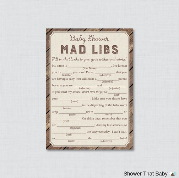 Rustic Baby Shower Mad Libs Printable Baby Shower Advice
