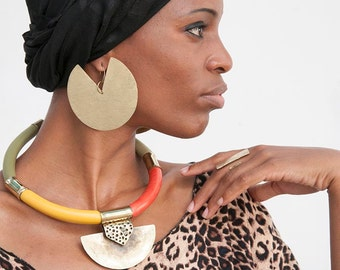 African Tribal Necklace, Statement Necklace, african jewelry, chunky necklace statement, big bold chunky necklaces, Tribal necklace