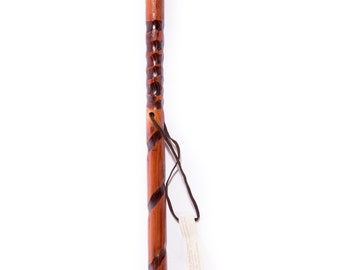 Hiking Stick Hand Carved Wooden Cane Walking Staff Wood Trekking Pole Handmade Leather Strap Compass Terra Cotta