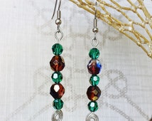 Crystal Dangle Earrings ~ Garnet & Emerald Silver Wire Wrapped Drops ~ January and May Birthstones for Graduation, Birthday, Anniversary