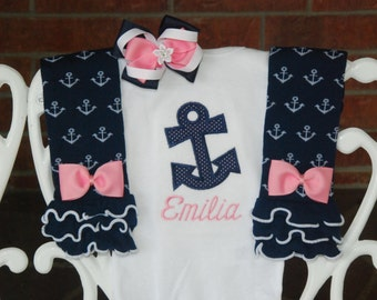 Baby Girl Anchor Nautical Outfit! Baby Girl Pink and Navy Nautical Outfit! Navy anchor bodysuit, leg warmers, and hair bow