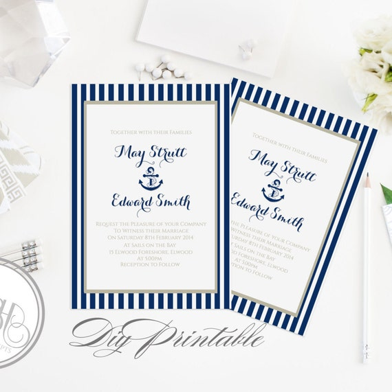 Nautical Wedding Invitation Template-Instant Download-5x7 PDF