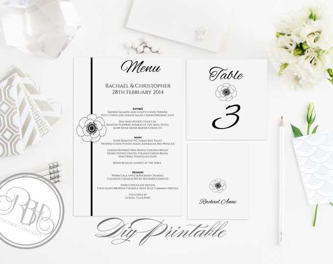"""Black & White Anemone Table Number, Place Card, Menu Templates INSTANT DOWNLOAD-DIY Editable Text-Black White Anemone Flower - """"Felicity"""""""