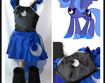 Princess Luna Costume Top, Skirt, Cape, Boots, Ears Kids/Adult & Plus sz
