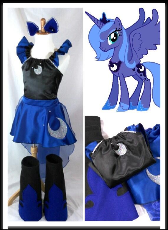 Princess Luna Costume Top Skirt Cape Boots Ears Kids/Adult