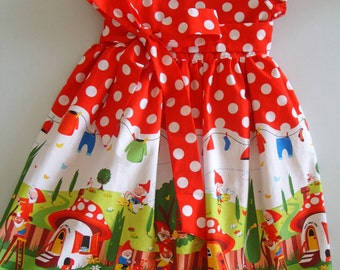 Girls Gnomes dress, Gnomeville, Christmas, Holidays, Kids clothing, party dress, Novelty, 100% cotton, girl, baby, toddler, size 6m to 10 Y