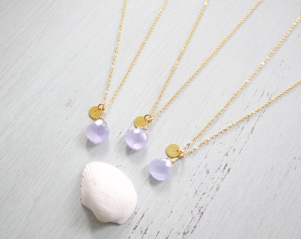 lavender quartz bridesmaid necklaces faceted by