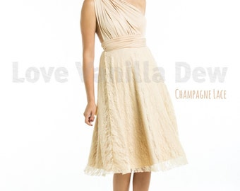 Bridesmaid Dress Infinity Dress Champagne Lace Knee Length Wrap Convertible Dress Wedding Dress