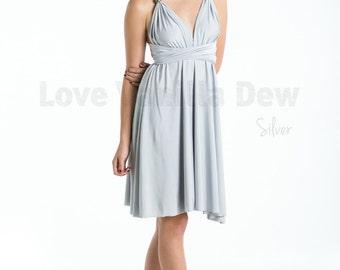 Bridesmaid Dress Infinity Dress Straight Hem Silver Knee Length Wrap Convertible Dress Wedding Dress