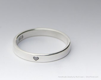 Delicate Tiny Heart Ring, Promise Ring, Love Ring, Handmade from .925 Sterling Silver