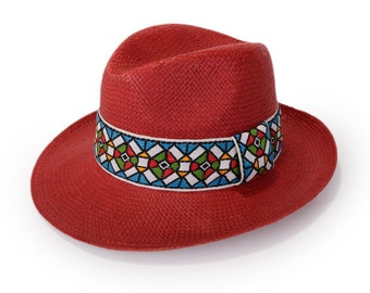 Red Panama Hat , Straw hat , Unisex , Red panama hat decorated with a vintage jacquard woven ribbon.