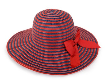 Wide brim hat , Custom hats , Red and blue jeans stripes hat decorated with a red bow.