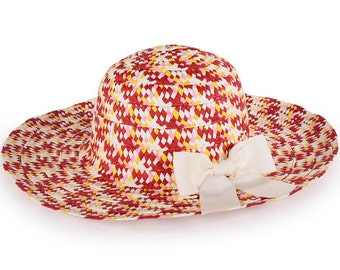 Wide brim summer hat decorated with a beige bow , Colorful floppy hat , Sun hat , Hats for women.