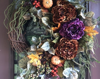 Fall Wreath, Door Wreath, Autumn Wreath, Peony Wreath, Elegant Wreath, Grapevine Wreath,