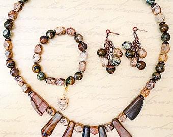 0904G - PICTURE JASPER, rhyolite, necklace, bracelet, earring, jasper jewelry, rhyolite jewelry, stone jewelry, jewelry set, handmade,copper