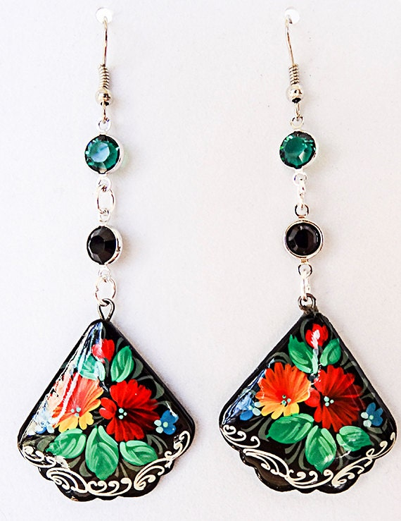 0876 paper mache earrings floral earrings paper mache for How to make paper mache jewelry