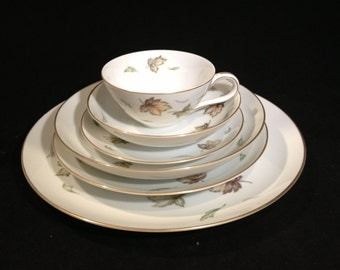 52 Piece Set of Harmony House West Wind China, Service for 8, Falling Leaves Design