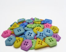 10 shaped buttons, triangle buttons, square buttons, hexagonal buttons, sewing supplies, pastel buttons, uk button supplies, button mix