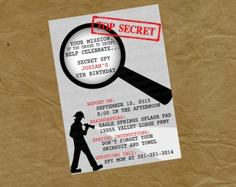 SPY Secrent Agent Birthday Party Invitation  - Digital or Printed