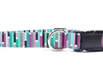 Dog Collar - Purple and Teal Ribbon Stripes Dog Collar, Durable Fabric Dog Collar, Xs, S, M, L, Xl