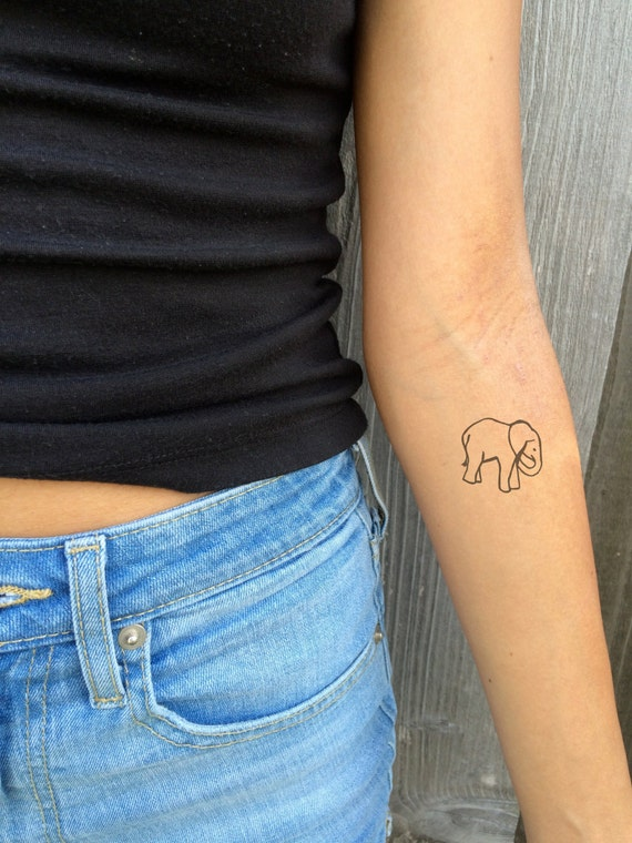 Hand drawn elephant temporary tattoo by festivalink on etsy for Temporary elephant tattoo