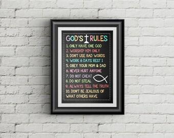 10 Commandments Scripture Art Print Exodus 20 Christian Wall Art Nursery Decor Ten Commandments