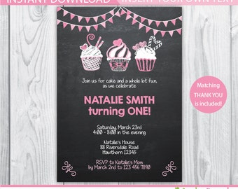 cupcake birthday / cupcake invitation / cupcake birthday invitation / 1st birthday cupcake invitation / cupcake birthday party / instant