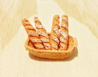 4 or 8 pieces of Baguette / French Style Bread Miniature Patisserie Food Imitation