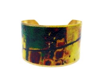50% OFF SALE JEWELRY - Brass Cuff Bracelet - Wearable Art Jewelry - Brass Statement Bracelet - Elegant Bracelet - Sku R8-014