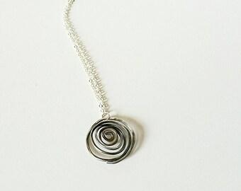 Oxidized Silver Spiral Pendant Necklace - 3d Silver Spiral Necklace - Rustic Spiral - Oxidized Jewelry